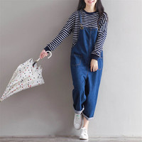 2017 Spring New Fashion Women Casual Jeans Overalls Ankle Length Wide Leg jumpsuit S-XL