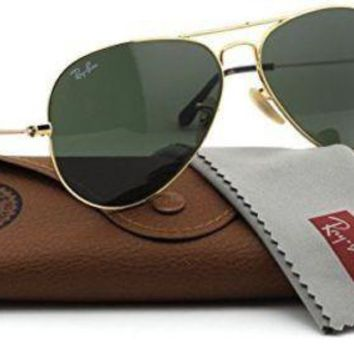 Ray-Ban RB3025 181 Unisex Aviator Sunglasses (Gold Frame / Dark Green Lens 181,