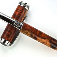 Handcrafted Wooden Pen Hand Turned Fountain Pen Amboyna Burl Rhodium and Black TitaniumHardware 432FPA