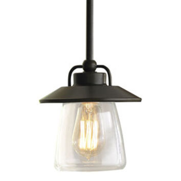 Shop allen + roth Bristow 6.87-in W Mission Bronze Standard Mini Pendant Light with Clear Glass Shade at Lowes.com