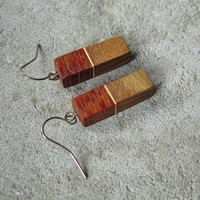 Wooden earrings, natural,exotic wood, rectangular earrings, gift for her, christmas gift, christmas sale, gift for her