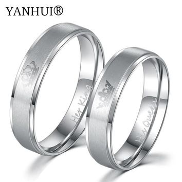 YANHUI King and Queen Gold Filled Ring Couple Wedding Band Set Anniversary Engagement Promise Ring Lovers Fashion Jewelry 2018