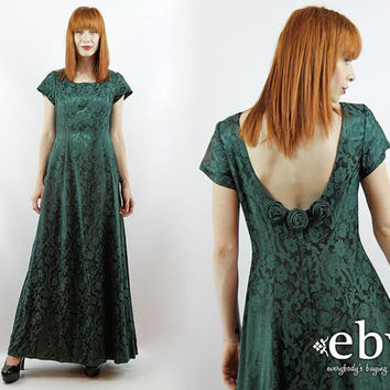 Vintage 90s Hunter Green Embossed Floral Maxi Dress S M Hunter Green Dress Green Maxi Dress Evening Gown Party Dress Cocktail Dress