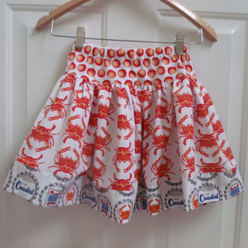 Crab Skirt Michael Miller Crab Walk Fabric skirt Boardwalk  Beach Skirt Crab Feast