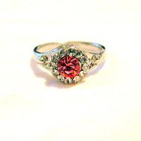 SALE Vintage Silver Tone and Rhinestone Costume Ring