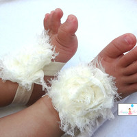 Baby Barefoot Sandals in Ivory