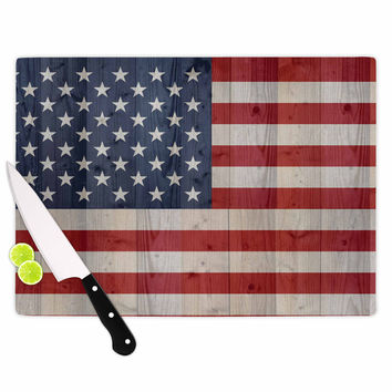 "Bruce Stanfield ""USA Flag On Spruce"" Blue Red Cutting Board"