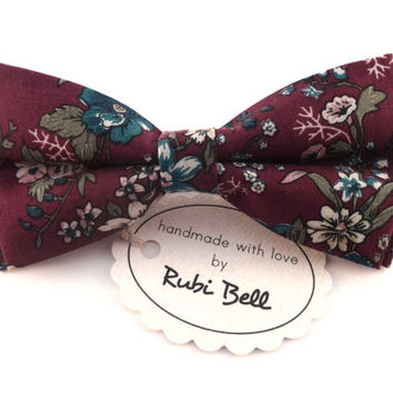 Bow Tie - purple floral bow tie - wedding bow tie - purple bow tie with flower pattern - man bow tie - men bow tie - gifts for him