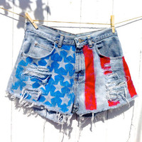 American Cutie High Waisted and Distressed Short Shorts