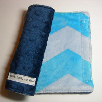 Car Seat Strap Covers - Blue Chevron & Navy Double Minky Reversible