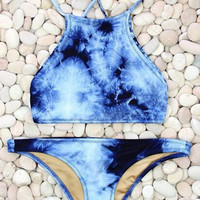 Tie Dye Blue Boho Bikini Swimsuit Set