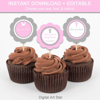 Pink and Gray Christening Cupcake Toppers - Printable Baptism Cupcake Decorations - Edit Text Yourself - Christian Cupcake Toppers - INSTANT