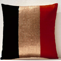 Throw Pillows -Red black gold color block silk beads detail cushion -metallic pillow -16X16 -Throw pillow cover -gift pillow -beaded pillow