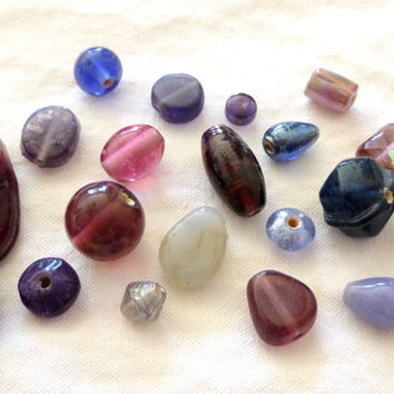Purple Glass Bead Assortment. Various shapes & sizes. Beads. Beading Supplies. Jewelry Supplies. Pink. Blue. Plum. Reduced. Supplies on Sale
