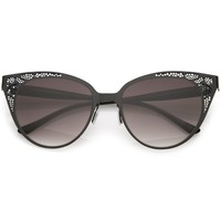 Women's Vintage Lace Design Gradient Lens Cat Eye Sunglasses C314
