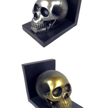 Human Silver or Gold Skull Bookend