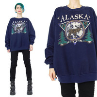 1990s Alaska Sweatshirt Navy Blue Fleece Sweatshirt Unisex USA Animals Moose Trees Nature Screen Printed Pullover Jumper Gym Workout (L)