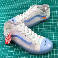 Off White X Vans Old Skool Transparent White Ice Blue Sneaker Shoes - Sale