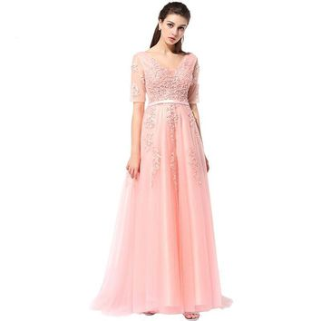 Evening Dress The Bride Banquet Sexy V-neck Half Sleeves Embroidery Long Party Prom Dress