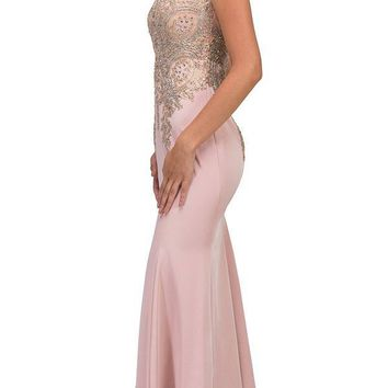 Stretch Satin ITY Formal Gown Blush Embroidery Illusion Neck