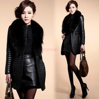 Women's Fashion Long Sleeve Synthetic Leather Fur Collar Coat Jacket Overcoat = 1930190212