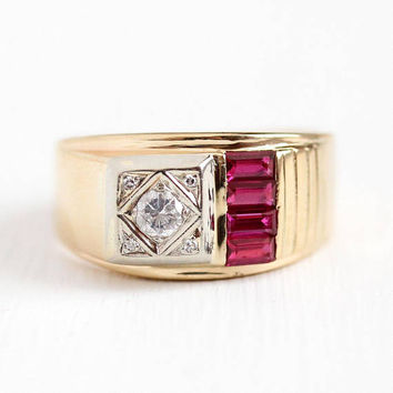 Vintage Men's Ring - 14k Yellow & White Gold Genuine Diamond + Created Ruby Statement - Retro 1940s Size 8 Two Tone Red Stone Fine Jewelry