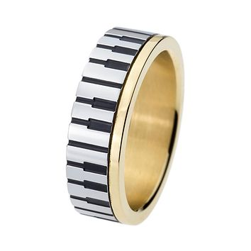 ping 7mm Men Women' Gold Color Piano Key Board Ring for Music Lovers 316L Stainless Steel Wedding Engagement