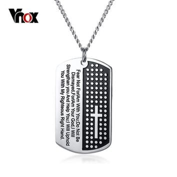 Vnox Bible Verse Pendant Necklace for Men Stainless Steel Cross Necklace Male Christian Prayer Jewelry Free Chain 24""