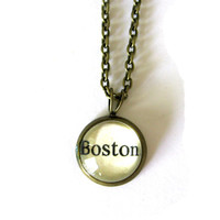 Gift Under 25 Boston Word Mini Pendant Hometown Pride Brass Setting Library Card Necklace One of a Kind