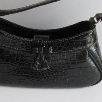 Black Alligator Print Liz Claiborne Purse Designer Purse  Pocketbook Designer Liz Claiborne Evening Bag Vegan Black Handbag