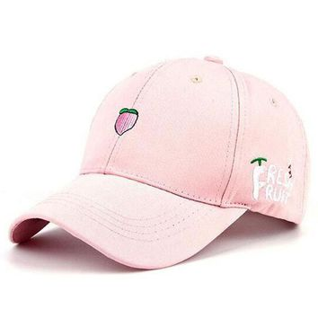 2016 New Arrival Spring Leisure Fresh Fruit Embroidery Hat Strawberry Banana Cherry Orange Peach Baseball Cap For Women