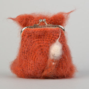 Handmade crocheted wallet purse for children in the form of a fluffy brown cat