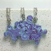 Puzzle Necklace Set  Best Friend Jewelry 3  polymer clay Set 207