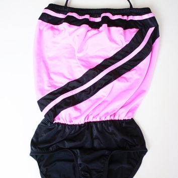 80's Pink and Black One Piece Tube Top Swimsuit