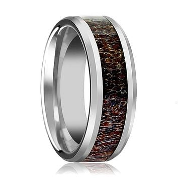 Tungsten Dark Brown Antler Inlay - Tungsten Wedding Band - Beveled - Polished Finish - 8mm - Tungsten Wedding Ring