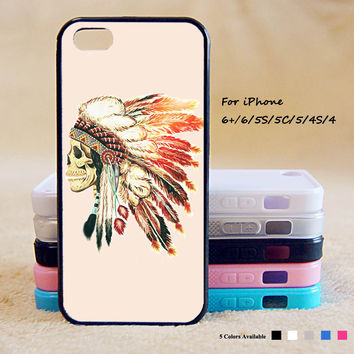 Indian feather skull  Phone Case For iPhone 6 Plus For iPhone 6 For iPhone 5/5S For iPhone 4/4S For iPhone 5C iPhone X 8 8 Plus
