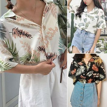Women Summer Chiffon Hawaiian Blouses Loose Baggy Tops Floral Button Turn-down Collar Shirts One Size