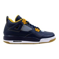 Nike Air Jordan IV 4 Retro BG Midnight Navy/Metallic Gold String-Gold Leaf-White Dunk From Above 408452-425 Grade-School