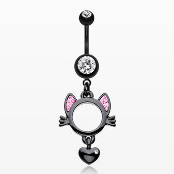 Adorable Black Kitty Cat Belly Button Ring