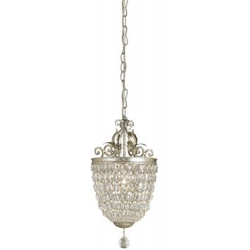 Currey Company 9004 Silver Leaf Finished Pendant with Crystal Shades