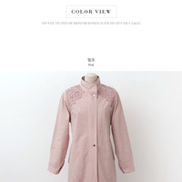 Buy CLICK Stand-Collar Lace-Trim Parka | YesStyle