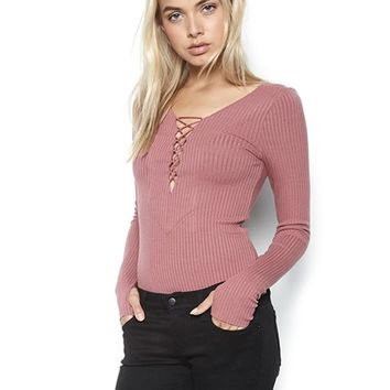 Michael Lauren Kade Lace Up Fitted Top in Rose Gold