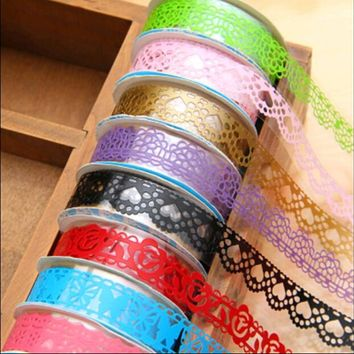 18 mm*1 m DIY Scrapbooking Crafts Paper Lace Tapes Masking Tape Wedding Birthday Decoration Album Flowers Adhesive Stickers