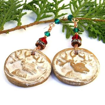 Christmas Reindeer Earrings Handmade Rustic Stoneware Swarovski OOAK
