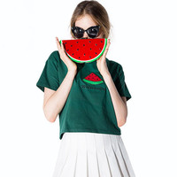 Green Watermelon Letter Embroidered Short Sleeves T-Shirt