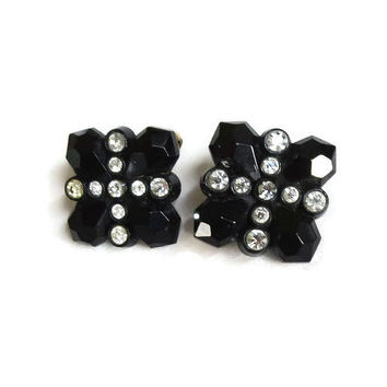 Square Black Faceted Lucite Earrings with Clear Rhinestones Vintage 1950's Mid Century