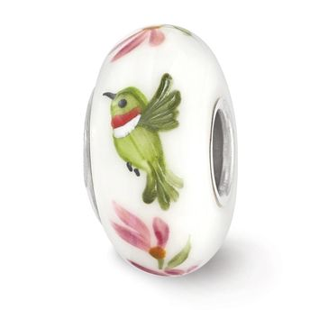 Fenton White Hand Painted Hummingbird Glass & Sterling Silver Charm