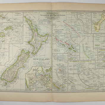 1899 New Zealand Map, Pacific Ocean Islands Map, Tropical Islands, Vacation Gift for Couple, Unique Wedding Gift, Polynesia Map Fiji Samoa