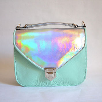 Mady duo Mint green and Holographic leather crossbody bag