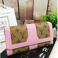 LV Women Fashion Leather Trending Buckle Wallet Purse Pink G-MYJSY-BB